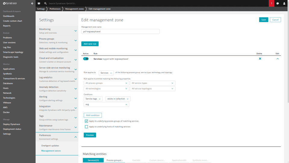Dynamic management zone for Pivotal cloud foundry services.