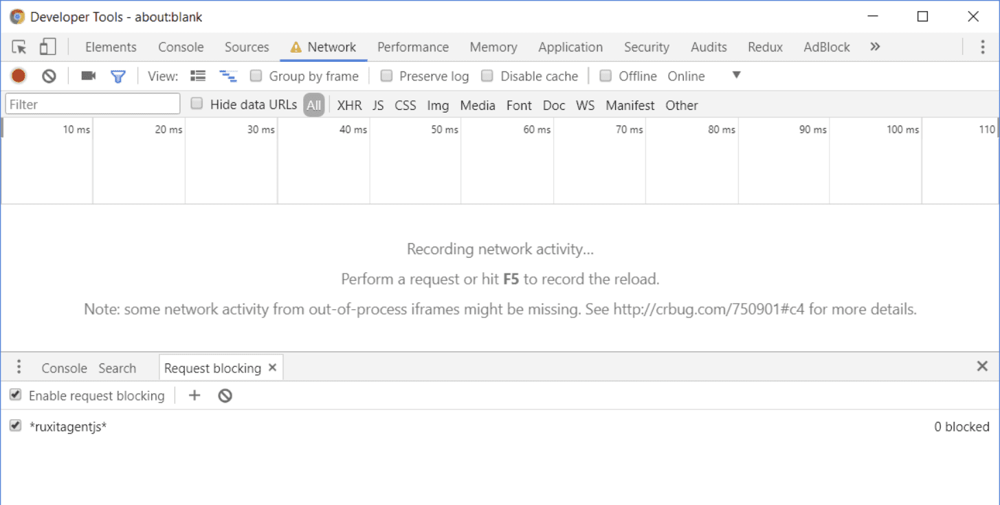 Rum troubleshooting - request blocking in Chrome to diagnose application not working