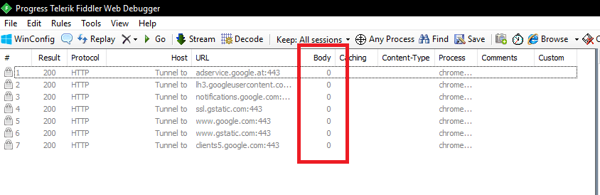 Fiddler RUM debugging session - zero-byte requests due to not enabling HTTPS decryption