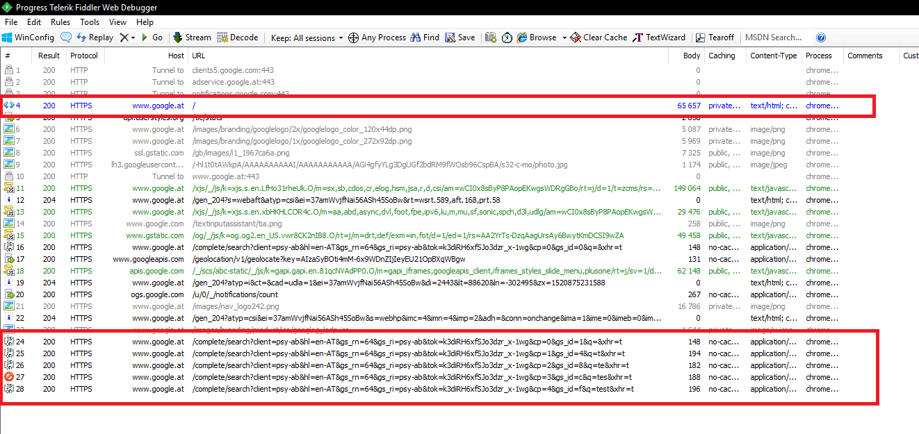 Fiddler RUM debugging session - requests showing when cache is cleared