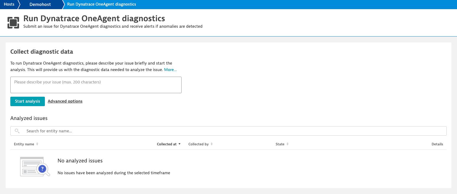 OneAgent diagnostics: run