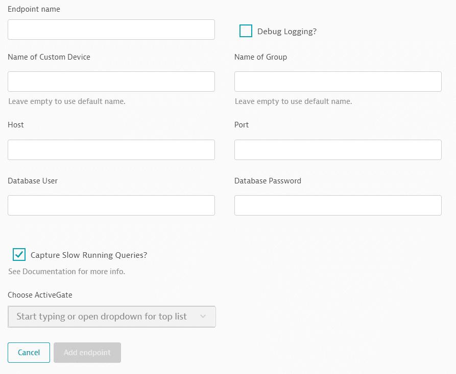SAP HANA database endpoint configuration