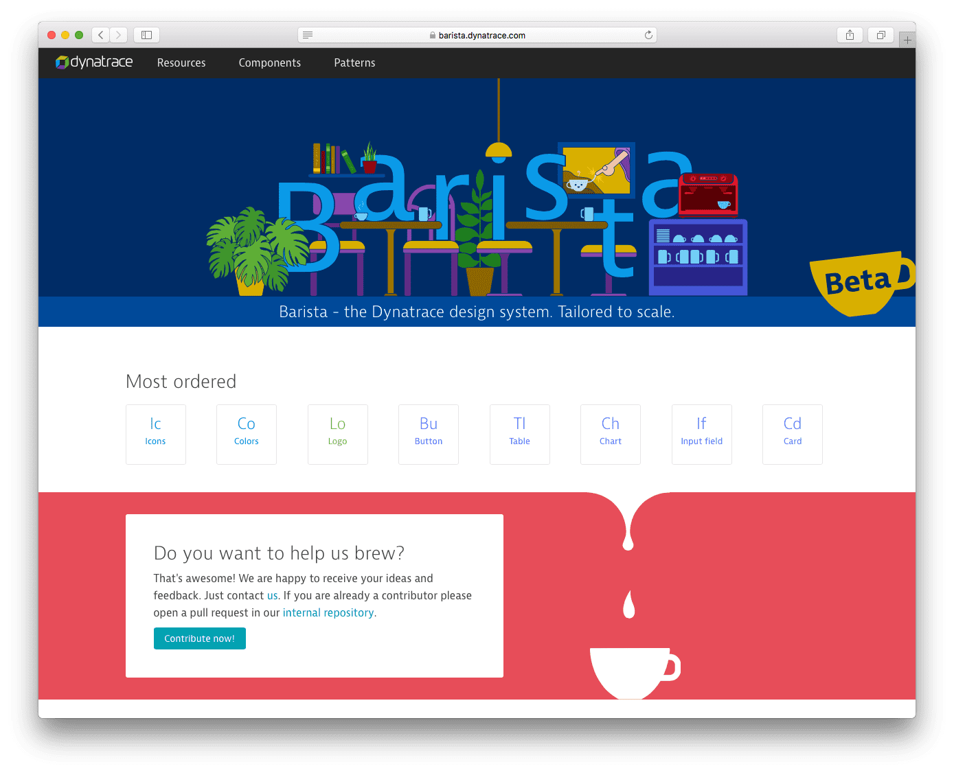 Front page of the Barista Design System