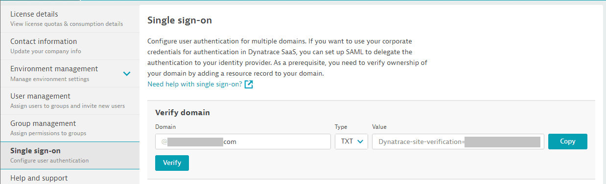 Dynatrace SaaS: verify domain
