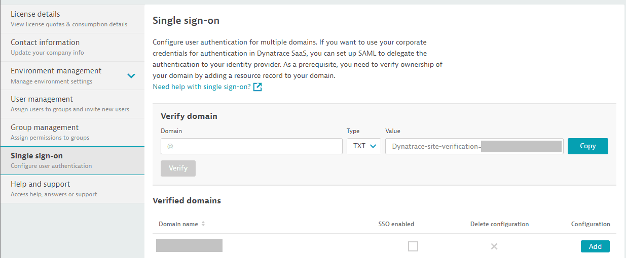 Dynatrace SaaS: verified domains