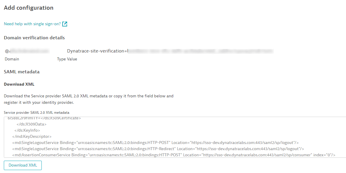 SAML: download XML