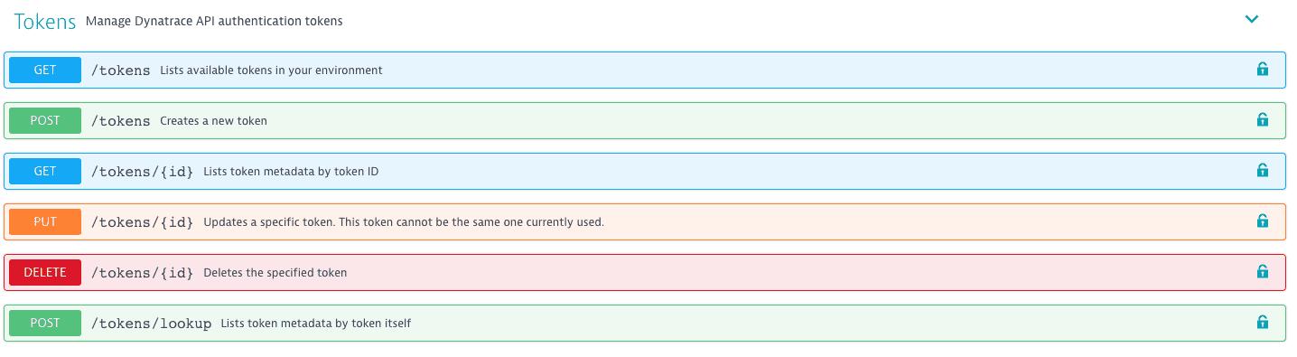 Token management REST API definition