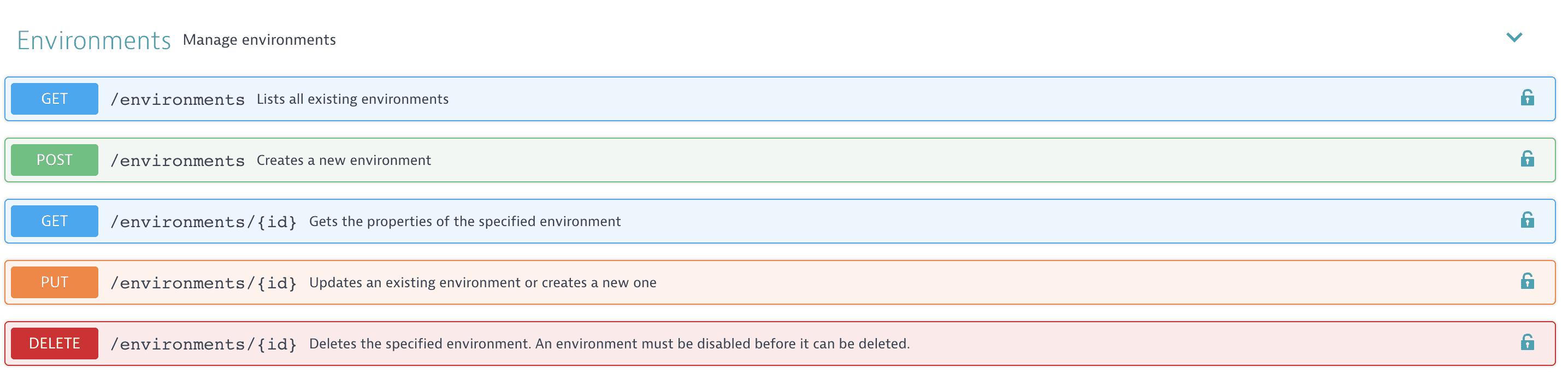 Environments REST API