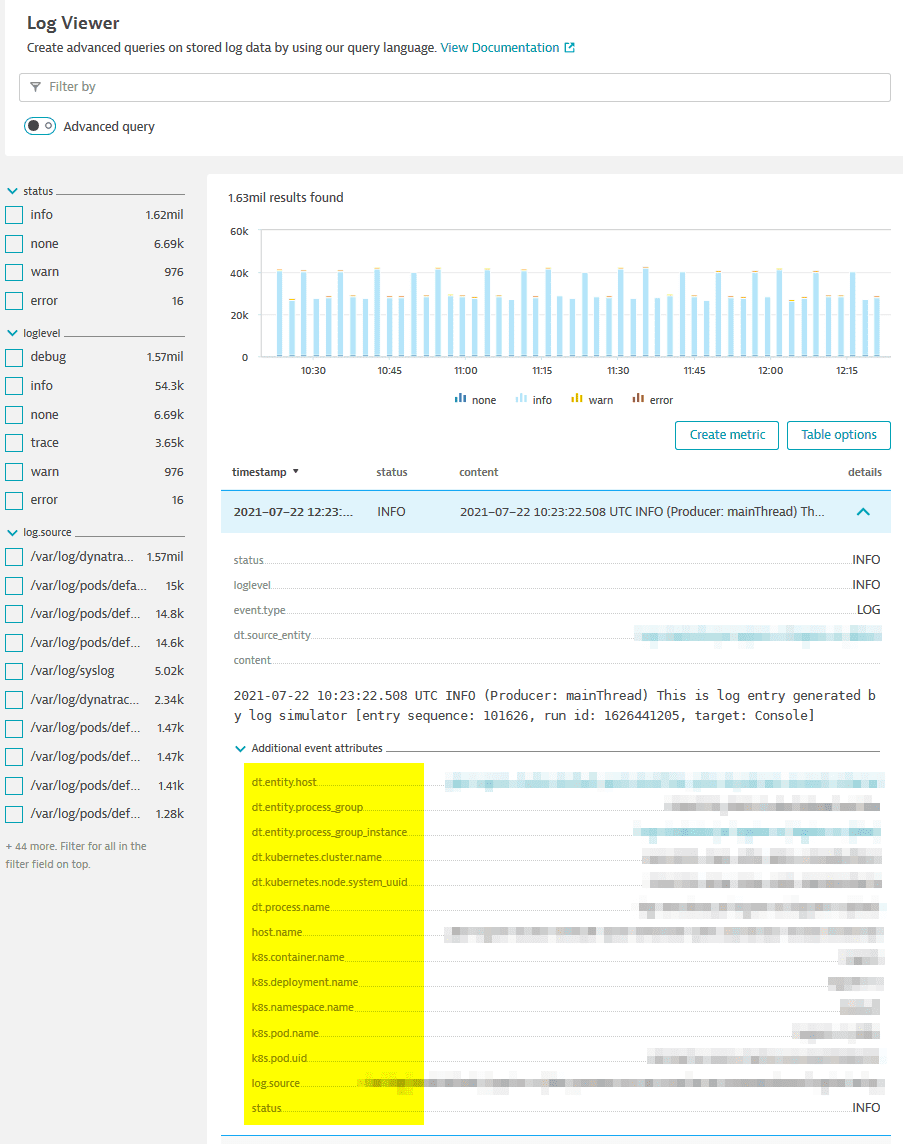 Additional event attributes in log viewer.