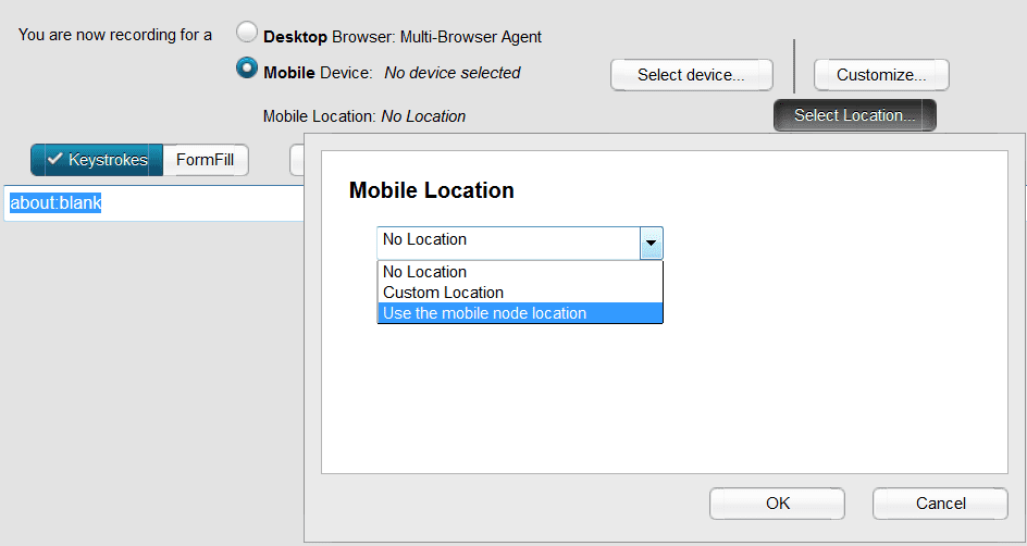 Specify the Mobile location