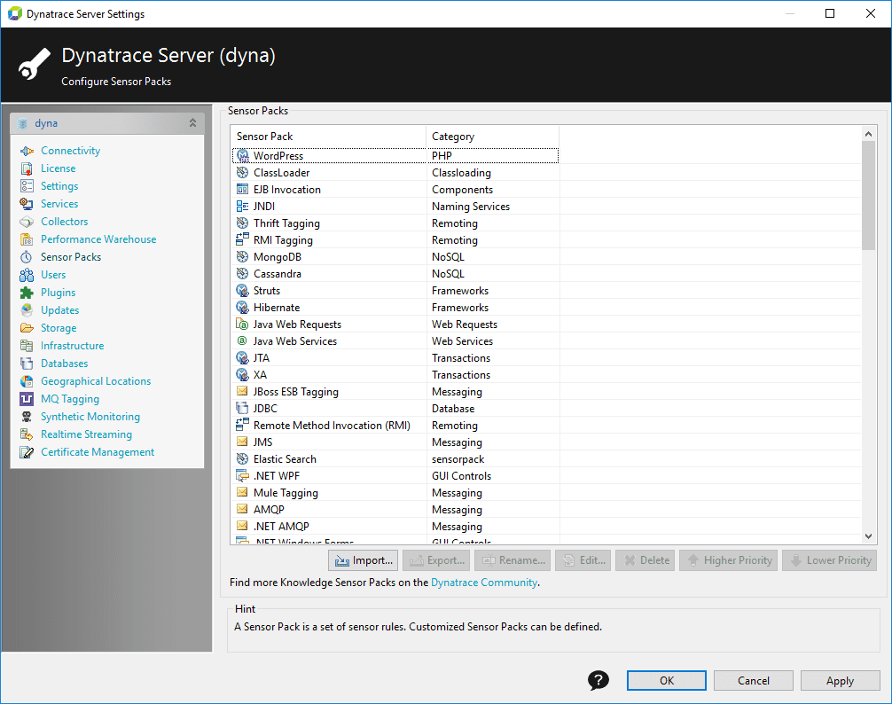 Server Settings Sensor Pack pane