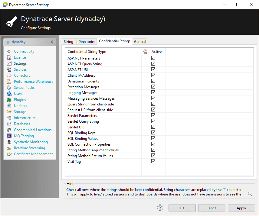 Figure 3. AppMon Server Settings - Confidential Strings: Selecting What Gets Hidden