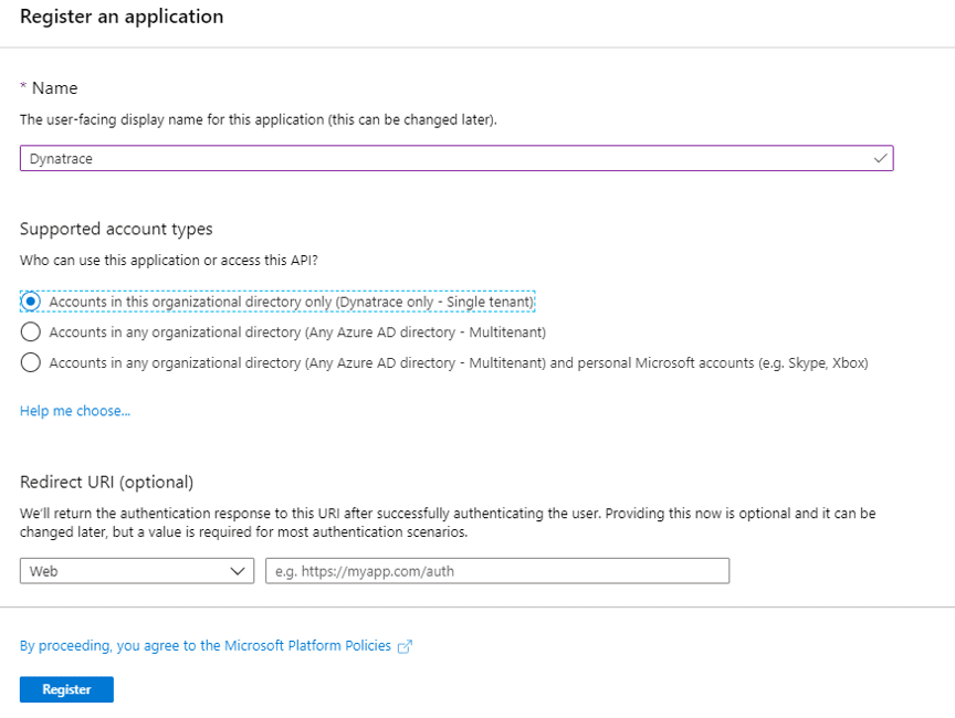 Configure Azure Monitor - create new app registration