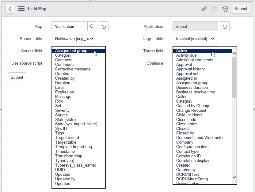 Mapping fields in web services