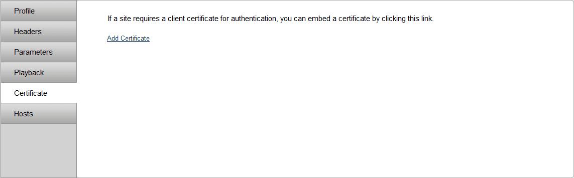 Certificate tab