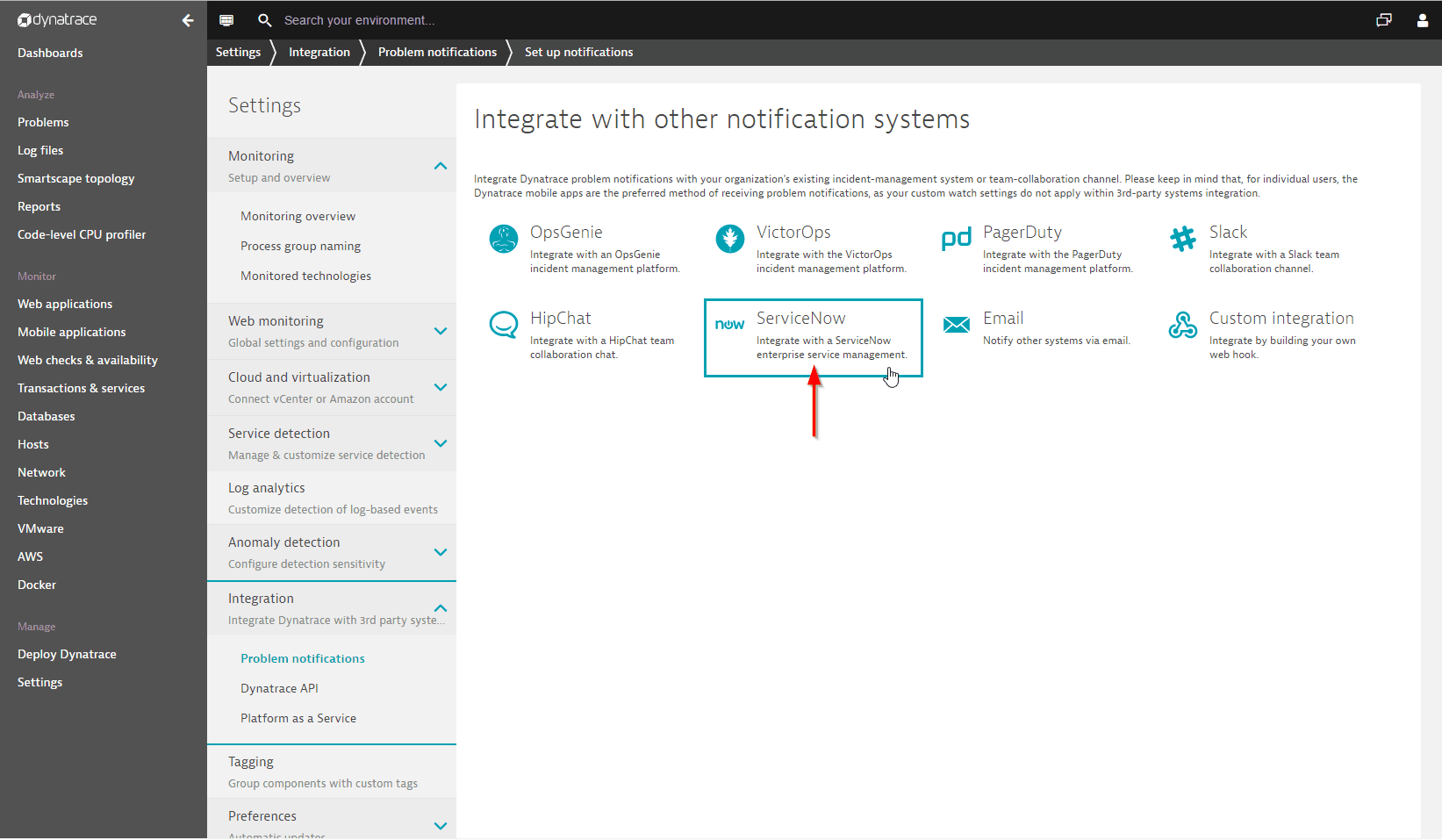 ServiceNow integration | Dynatrace Help