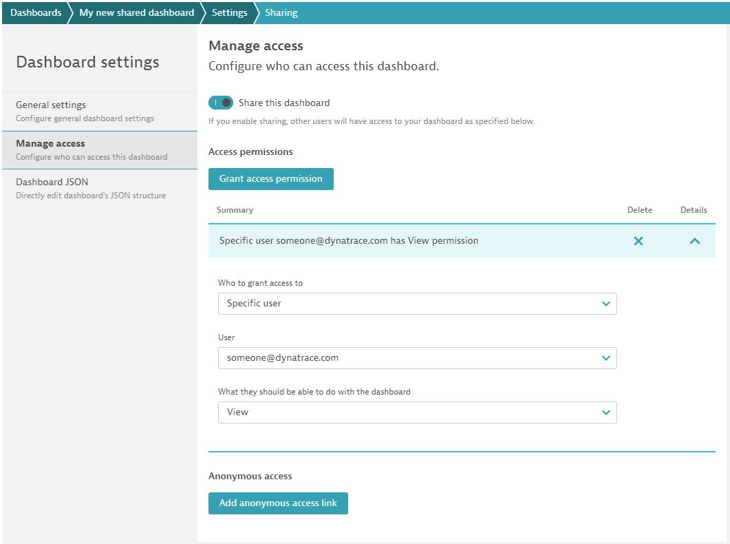 Dashboard: share: specific user