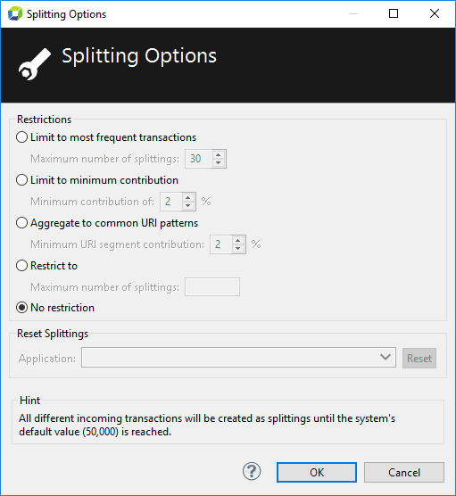 Splitting options dialog box