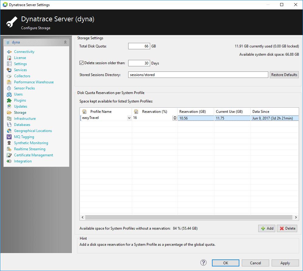 Server settings - Storage