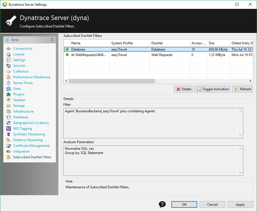 Server settings - Subscribed dashlet filters