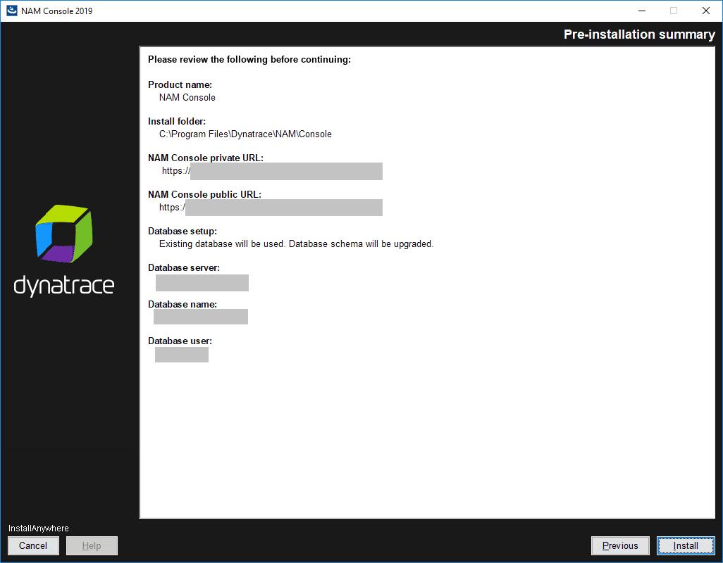 NAM Console: Installation: Pre-installation summary