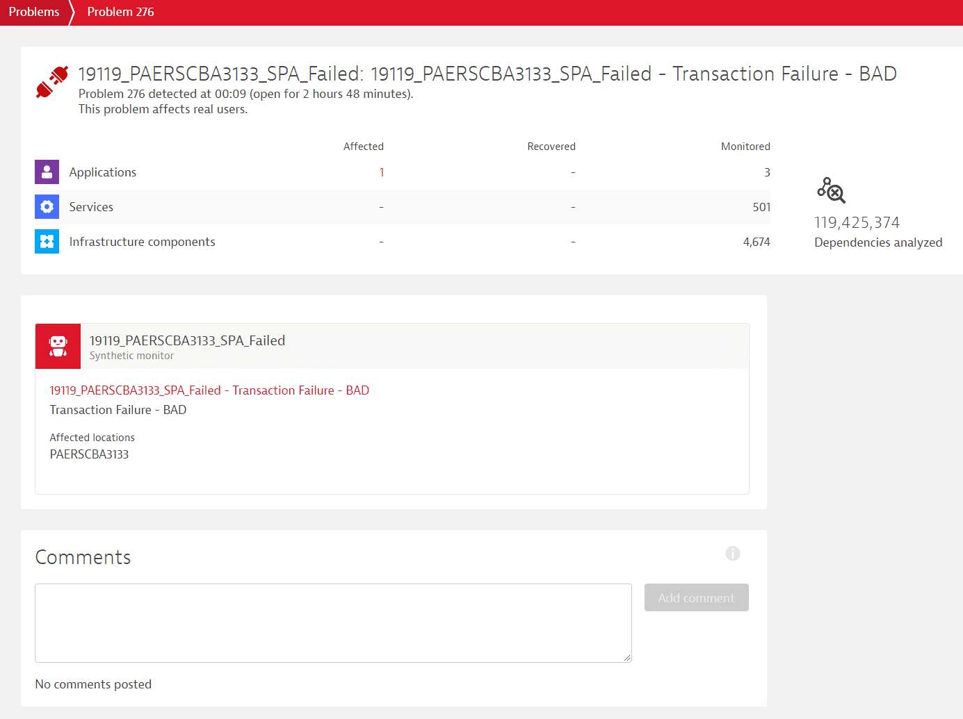 Synthetic Classic problem in Dynatrace