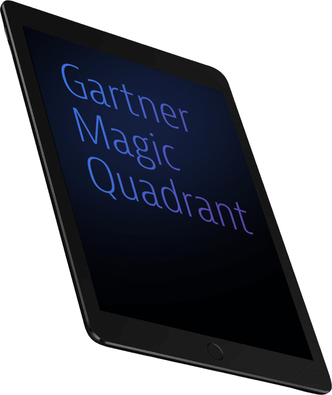 Tablet showing the words Gartner Magic Quadrant on the display