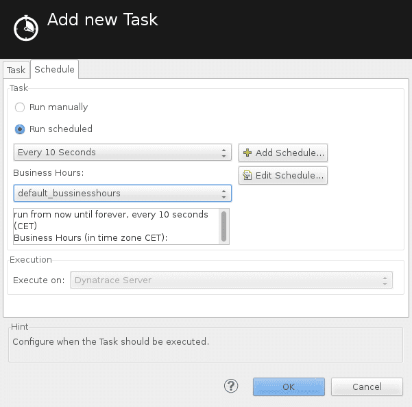 Scheduled task editor