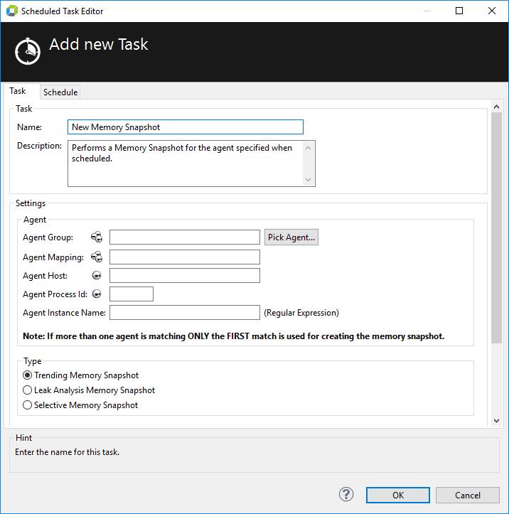 Memory Snapshot Task Configuration