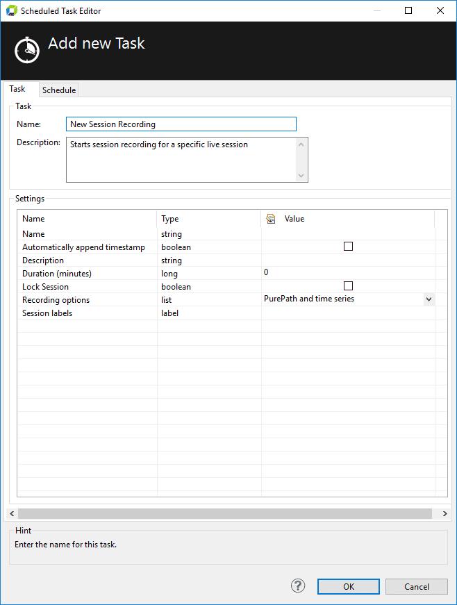 Session Recording Task Configuration