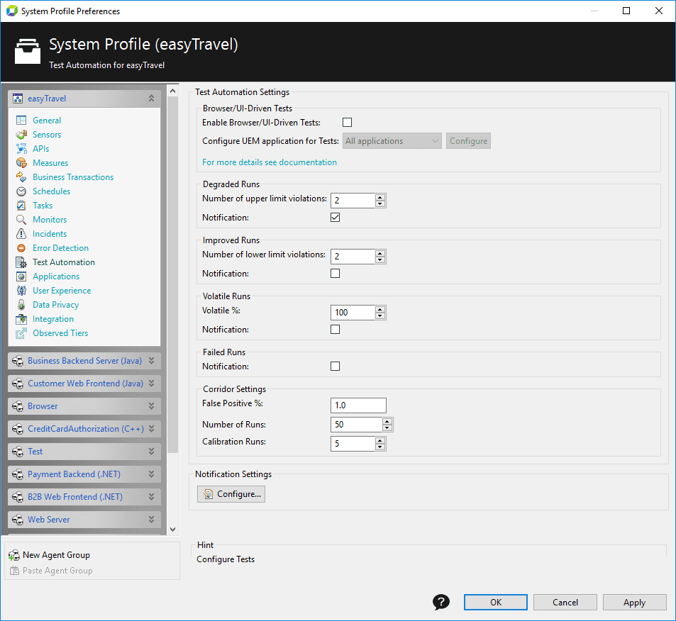 System Profile - Test automation