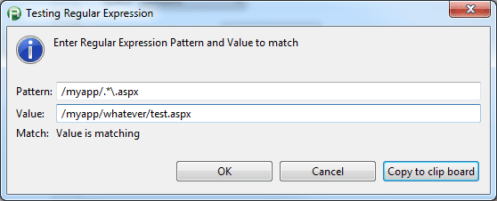 Test Regular Expression dialog box