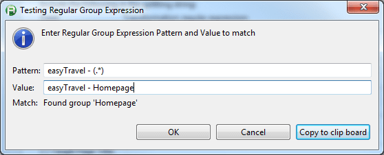 Test Regular Group Expression dialog box