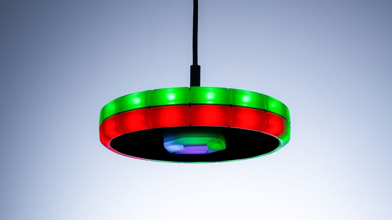 The Dynatrace DevOps UFO is delivering the state for two separate stages through its two LED rings, and also the severity or impact is visualized by more or fewer red LEDs.