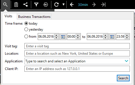 The Search dialog box for Visits