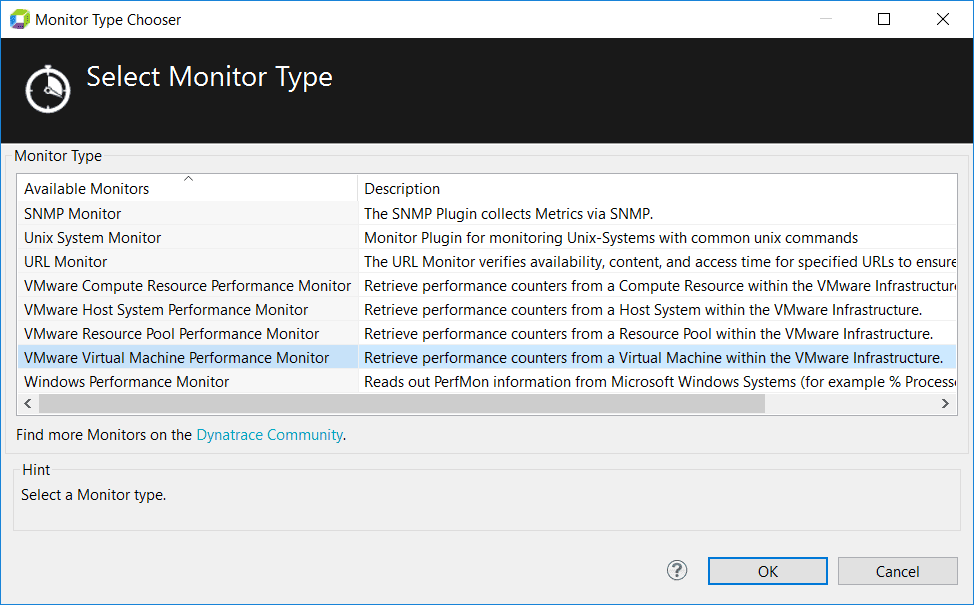 Choose the virtual machine monitor