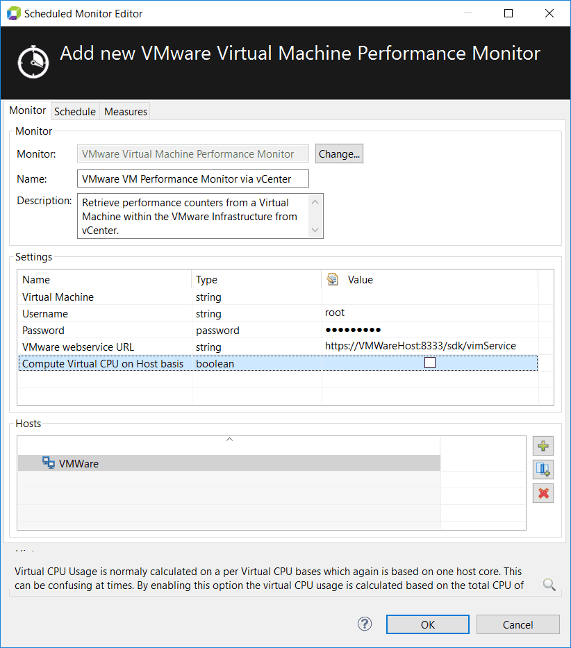 Monitoring virtual machines from vCenter