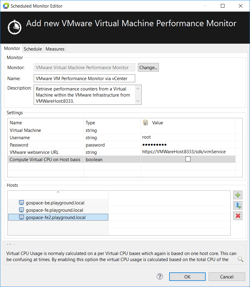 Monitoring virtual machines on a specific physical host