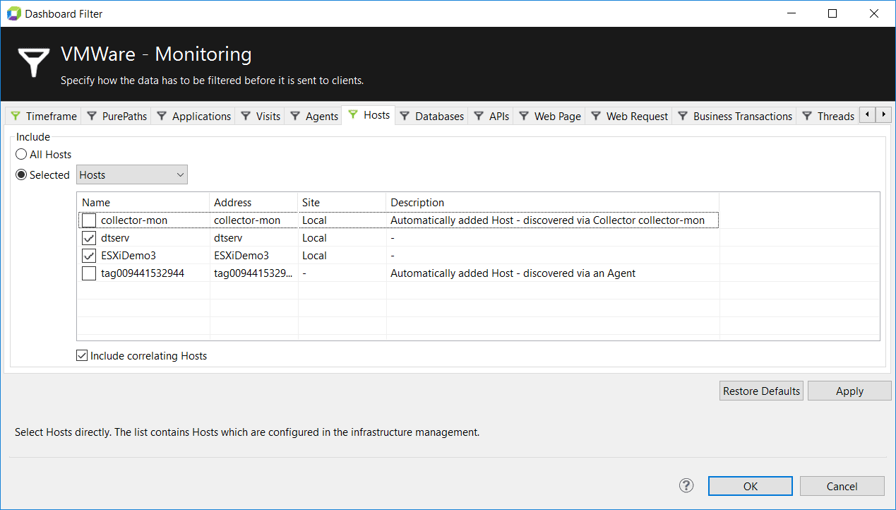 Host filtering on the VMware - Monitoring dashboard