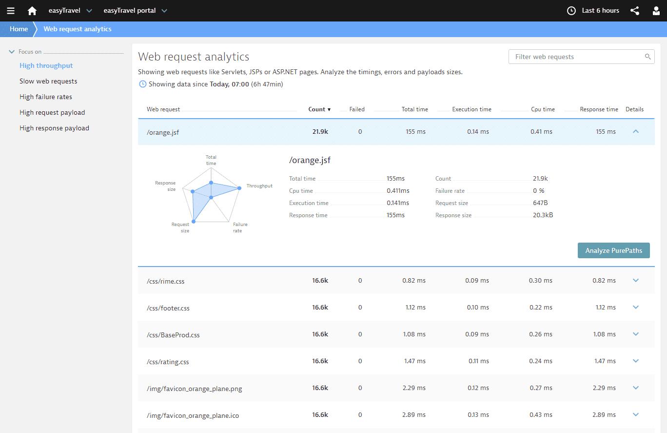 Web request analytics web view