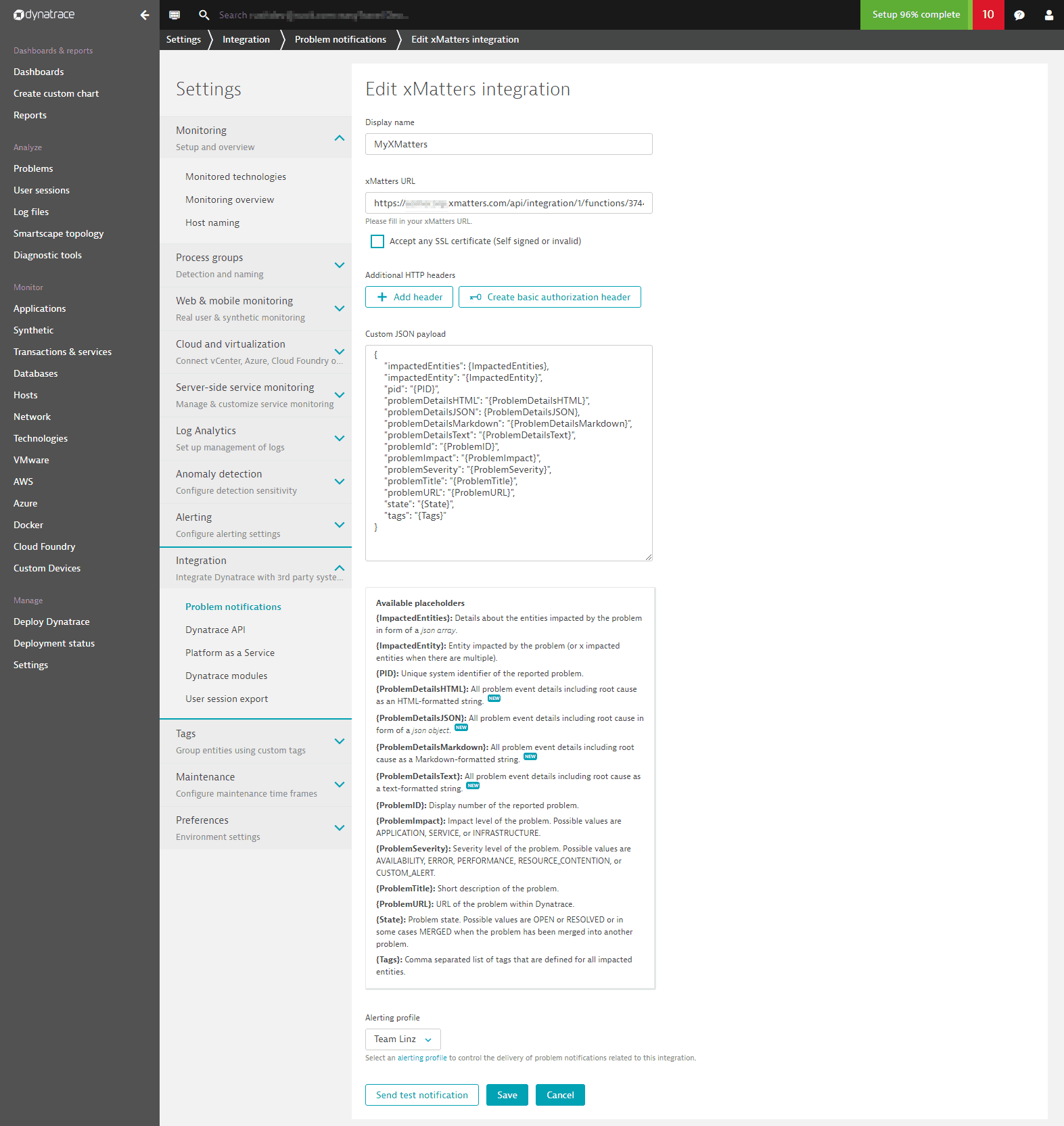 Dynatrace screen for xMatters integration