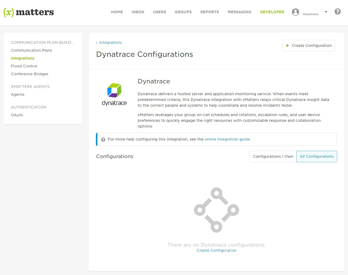 xMatters screen for Dynatrace integration setup