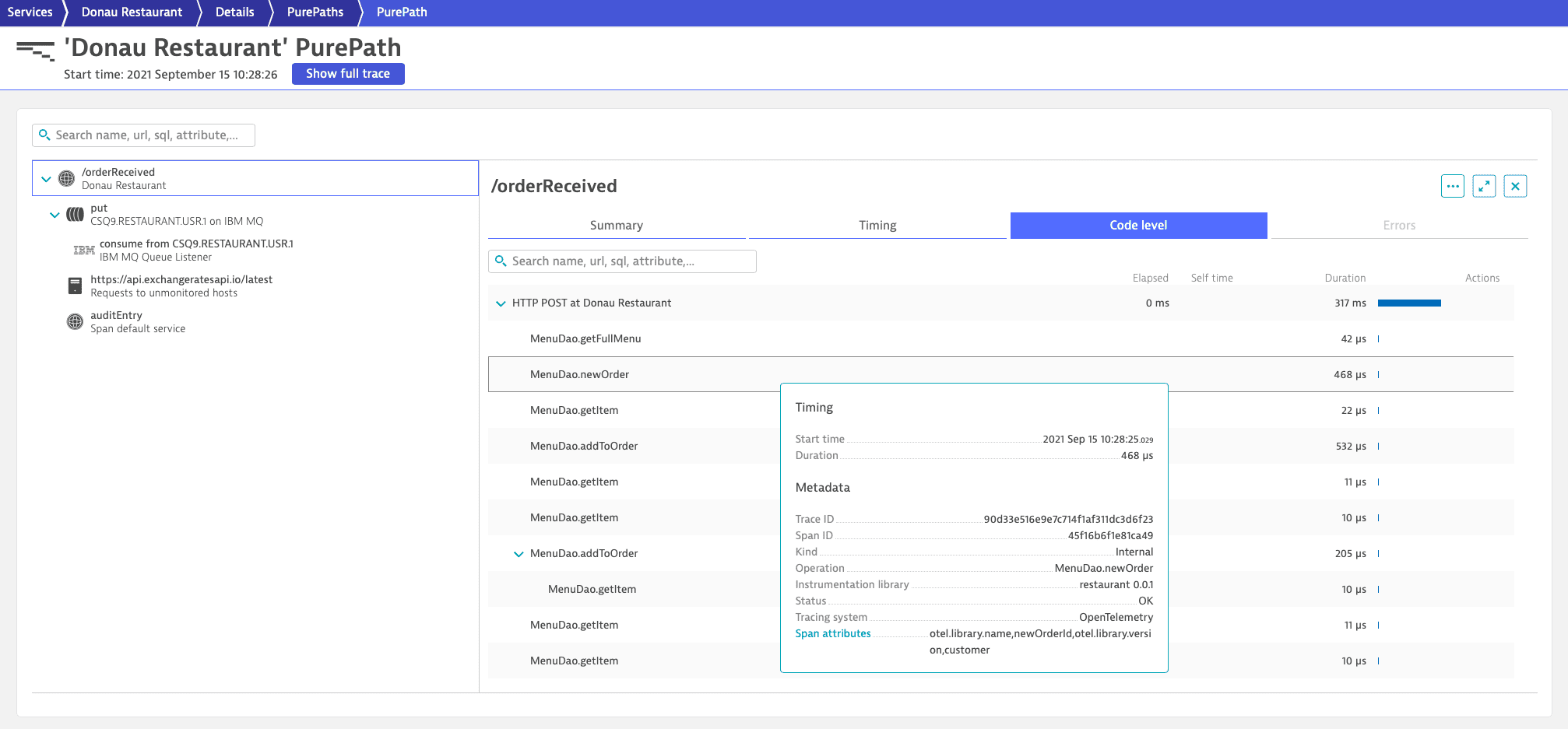 Span sample on z/OS Java