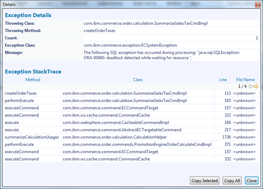 Exception stack trace showing that createOrderTaxes ran into the deadlock issue on the database
