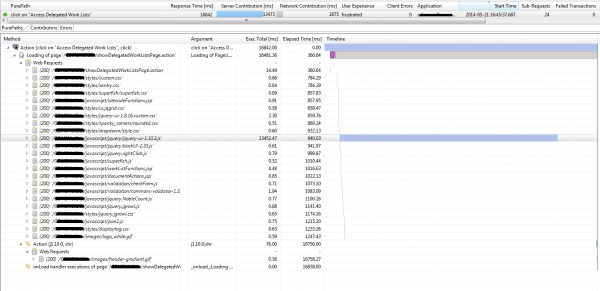 Figure 3: Analyzing real end user page load details revealed very long load time for jQuery