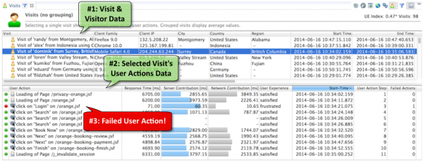 Visits, associated user actions and performance metrics