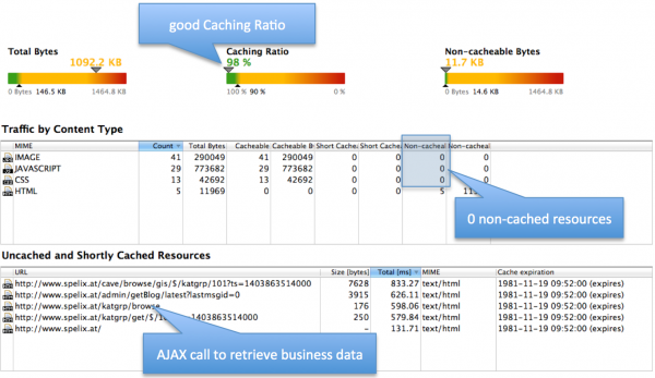 In the performance report we can see the details of the performance optimization process. The business data received via AJAX calls are not affected by this code caching logic, but by local data caching using LocalStorage as described in Step#3 of Sprucing up your grown PHP application – Part 1