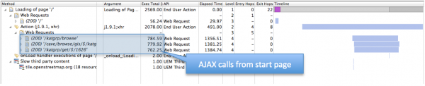 3 AJAX calls on the start page show almost the same long execution time. This looks suspicious…