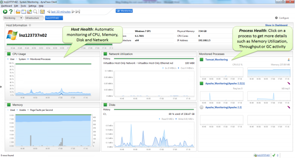 Once you have a single agent installed on a machine you get full Host and Process Monitoring including CPU, Memory, Disk, Network, GC, Threads, Throughput, etc.