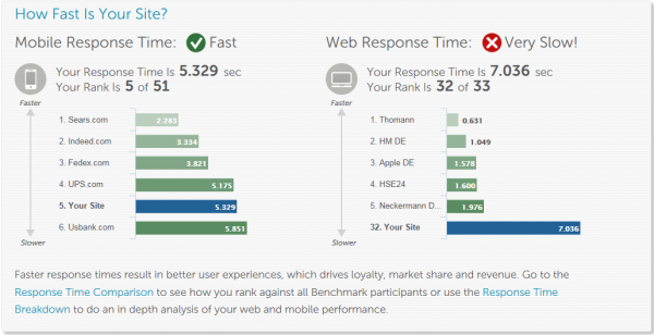 Performance Test Result showed that the site ranked 32 out of 33 – clearly some action items are needed!